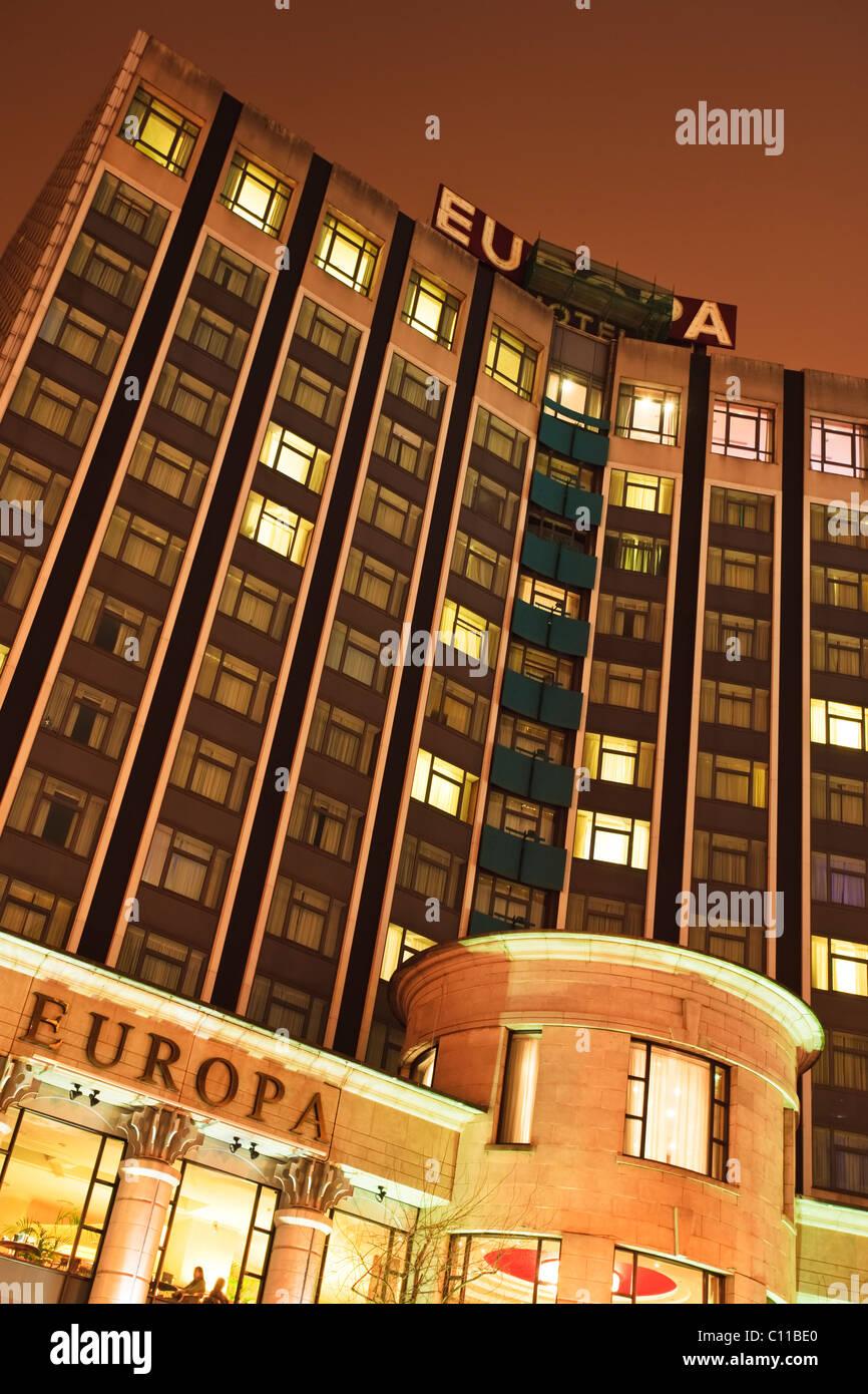 The Europa Hotel on Great Victoria Street, Belfast, Northern Ireland - Stock Image