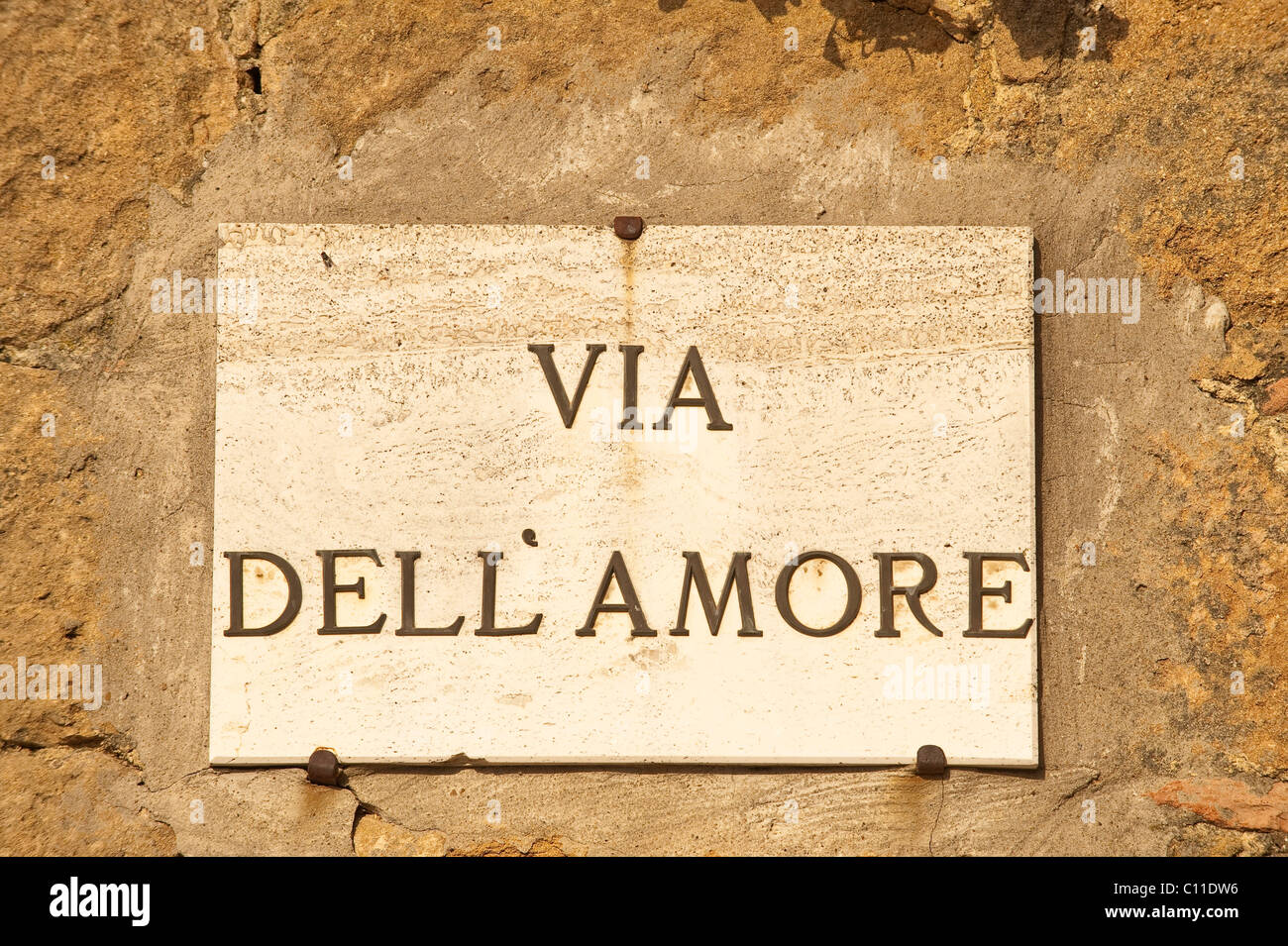 Street sign, Via delle Amore, Pienza, Tuscany, Italy, Europe - Stock Image