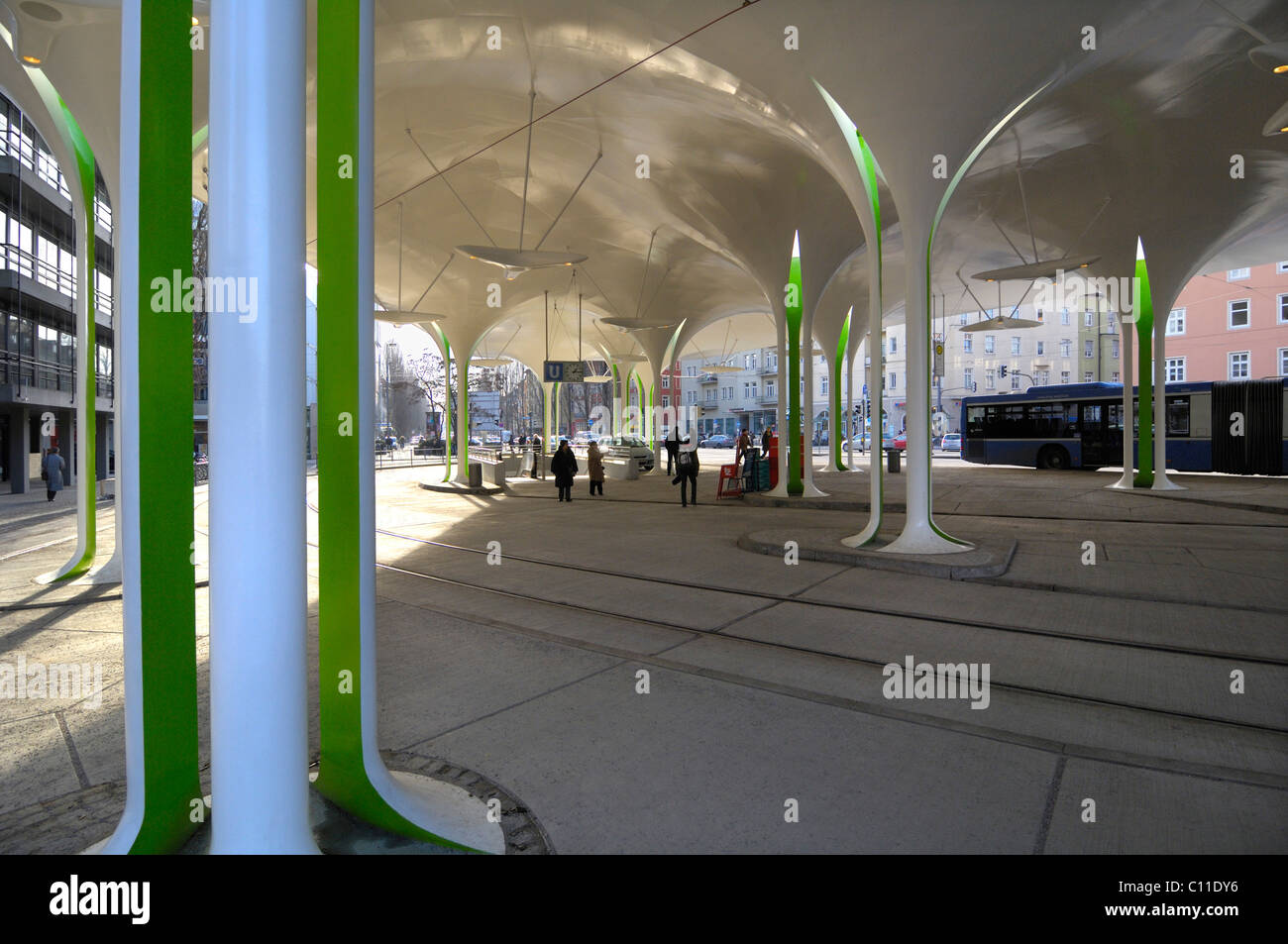 New stop of Tram 23, Muenchner Freiheit, Schwabing, Munich, Bavaria, Germany, Europe - Stock Image