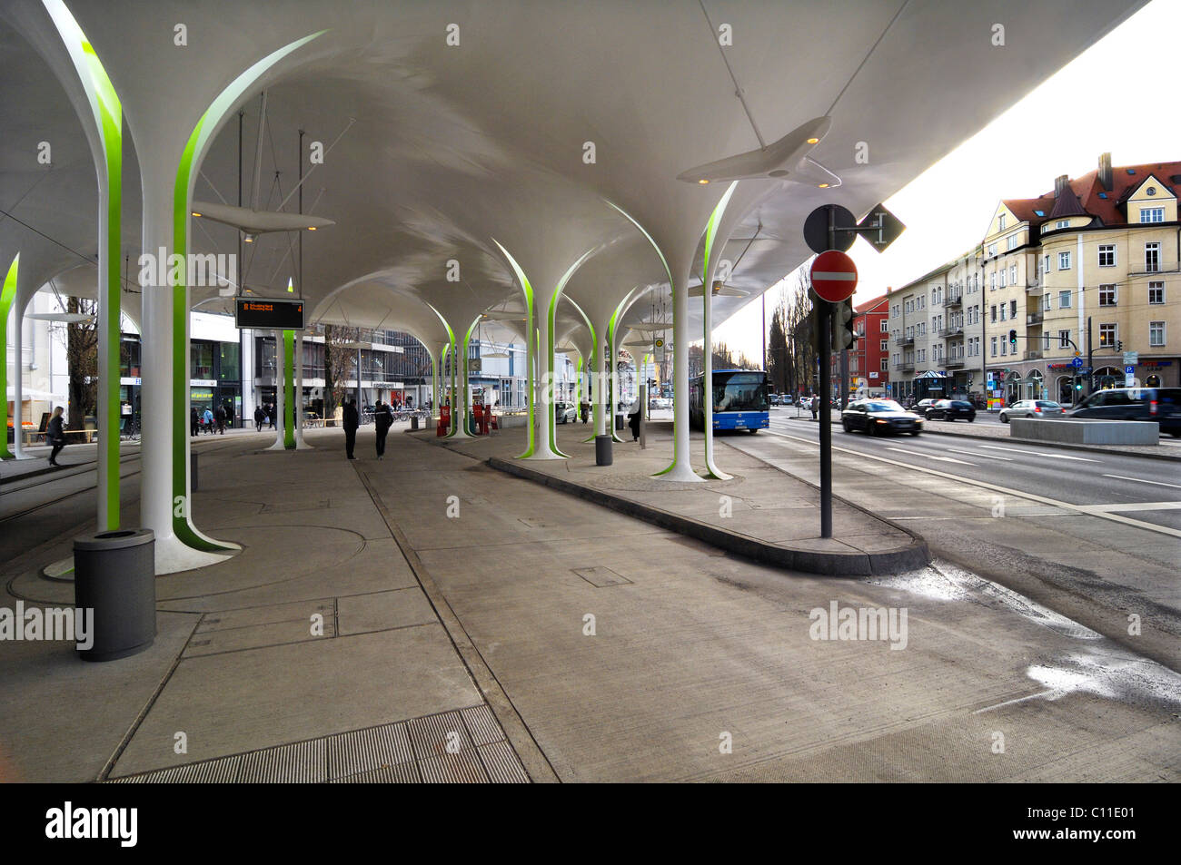 New stop of Tram 23, Muenchner Freiheit, Schwabing, Munich, Bavaria, Germany, Europe - Stock Image