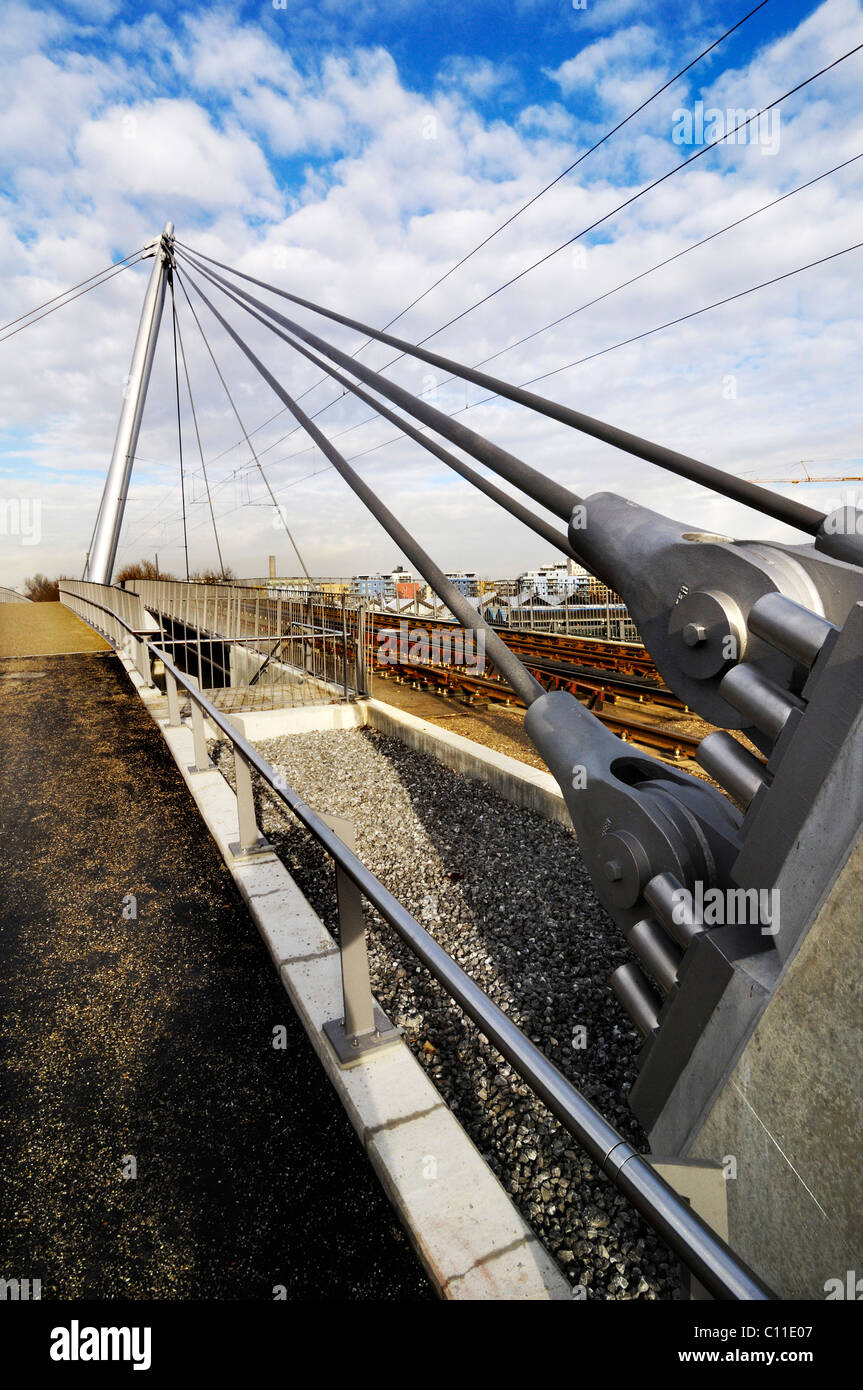 Cable-stayed bridge, Am Muenchner Tor, Tram 23, Munich, Bavaria, Germany, Europe - Stock Image