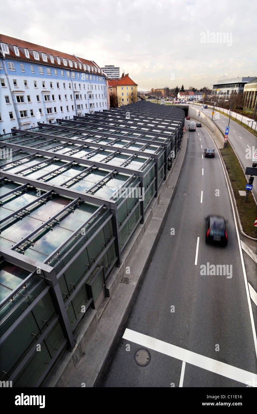 Noise protection of a glass-pitched roof, Petuelring, Munich, Bavaria, Germany, Europe - Stock Image