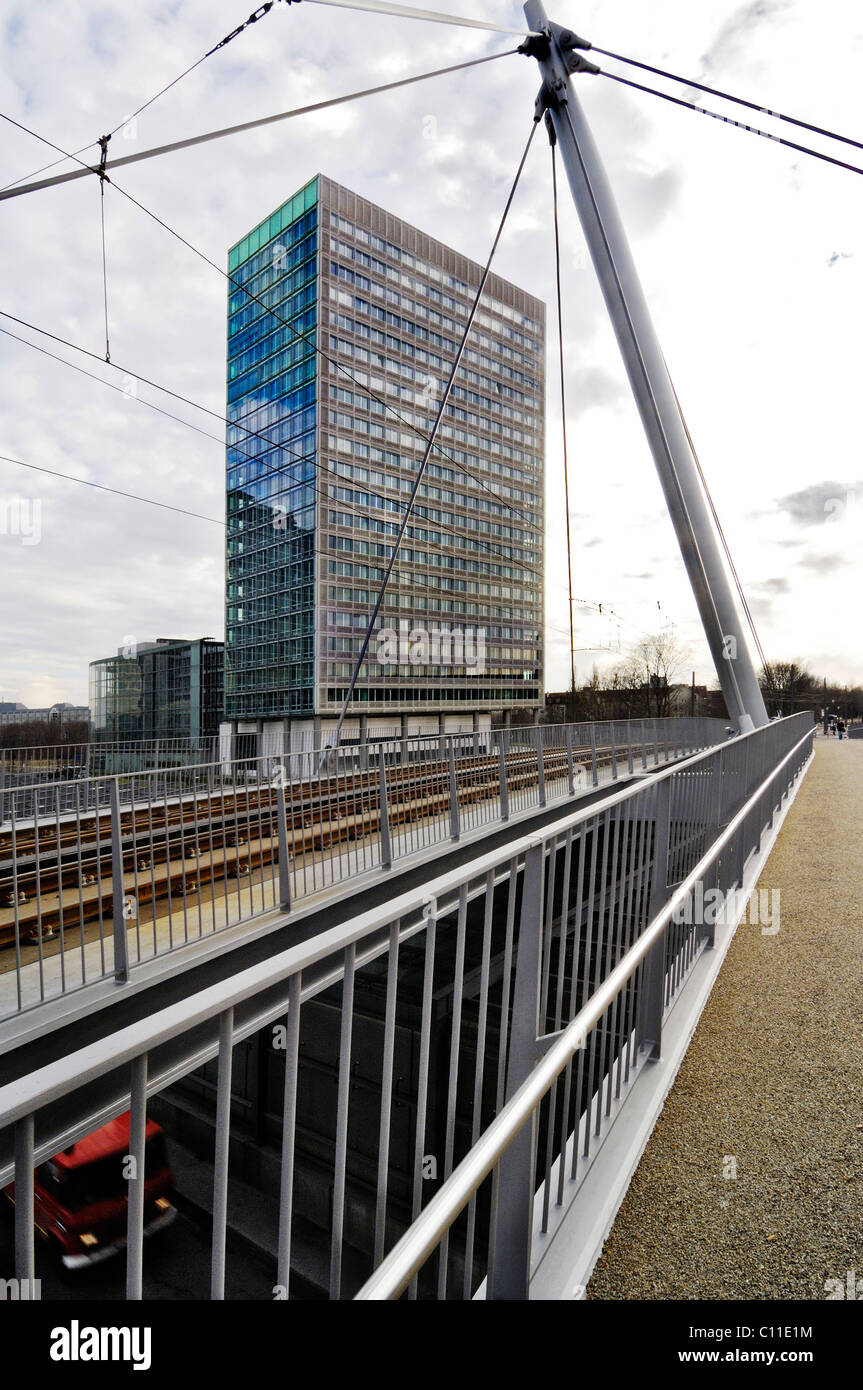 High-rise and cable-stayed bridge, Am Muenchner Tor, Tram 23, Munich, Bavaria, Germany, Europe - Stock Image