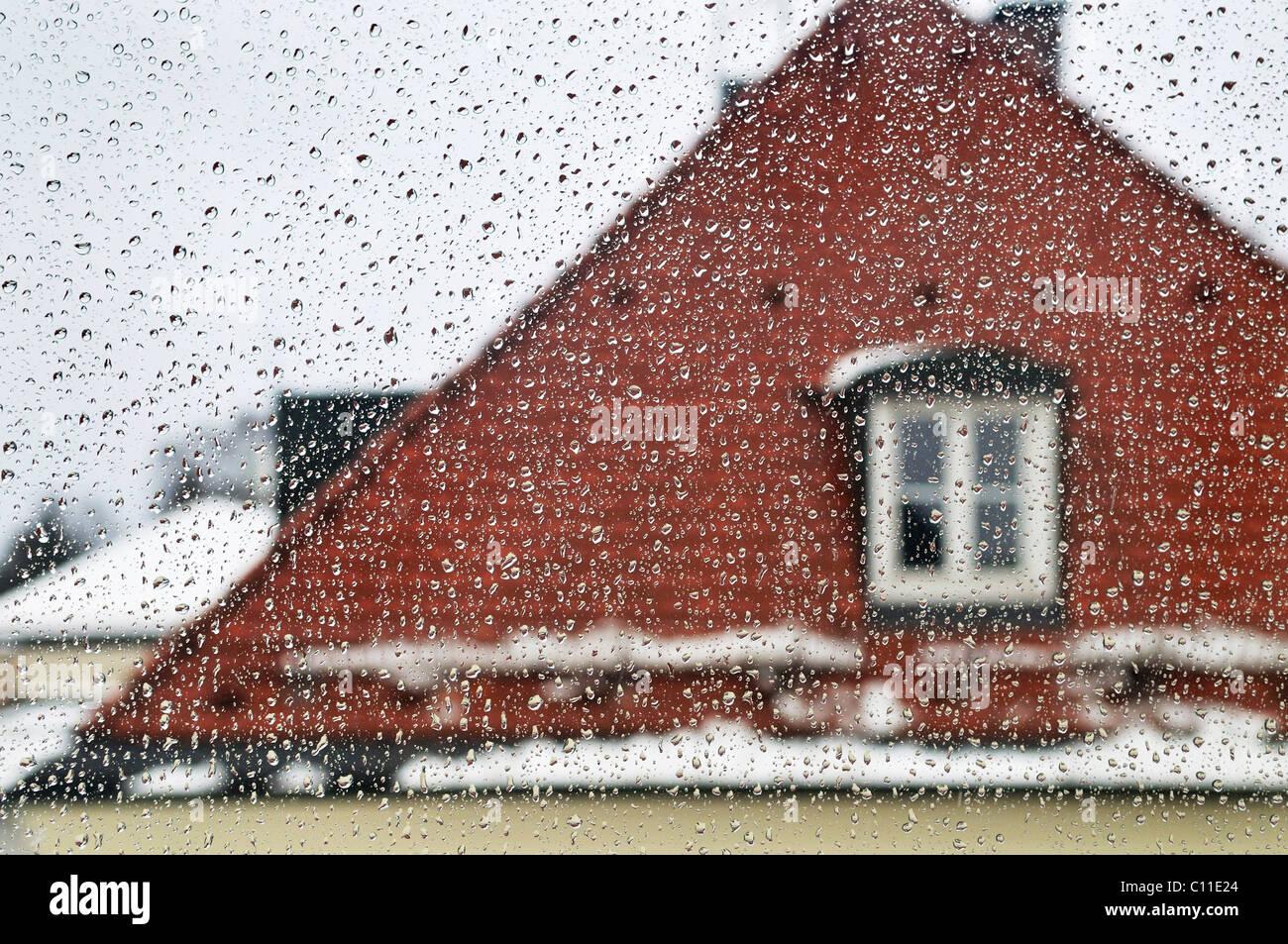 Window with raindrops, Germany, Europe Stock Photo