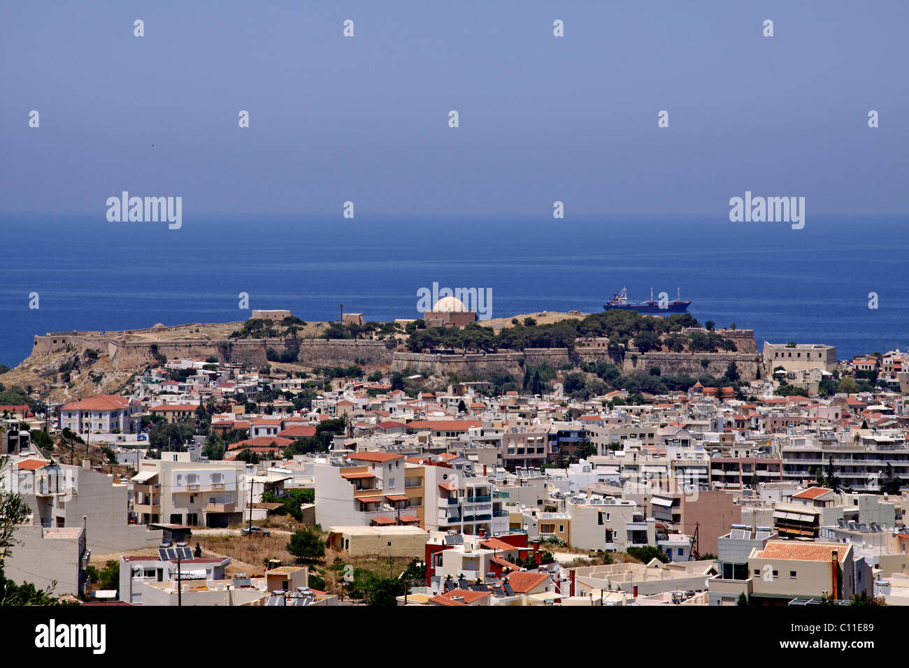 Panoramic view of Rethimno, Rethymno, Venetian Fortezza, fortress in the back, castle, Crete, Greece, Europe Stock Photo