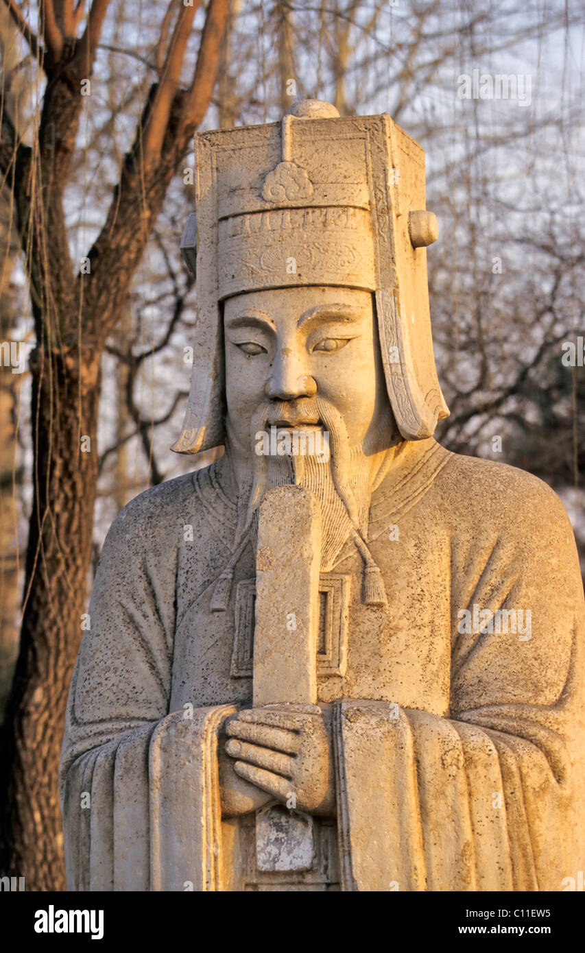 Guardian figure on the divine road, Ming graves, China, Asia - Stock Image
