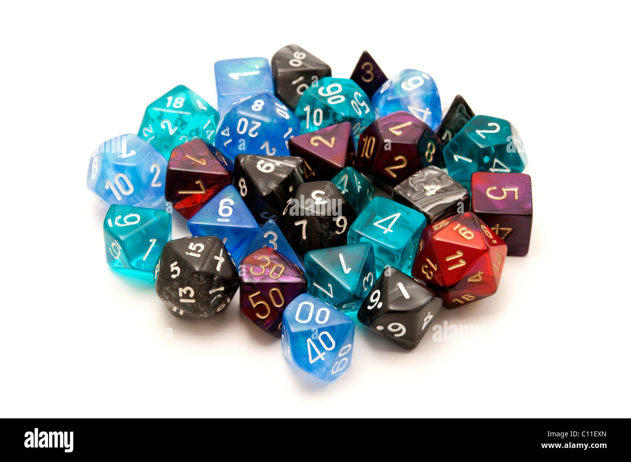 Role-playing dices on a white background - Stock Image