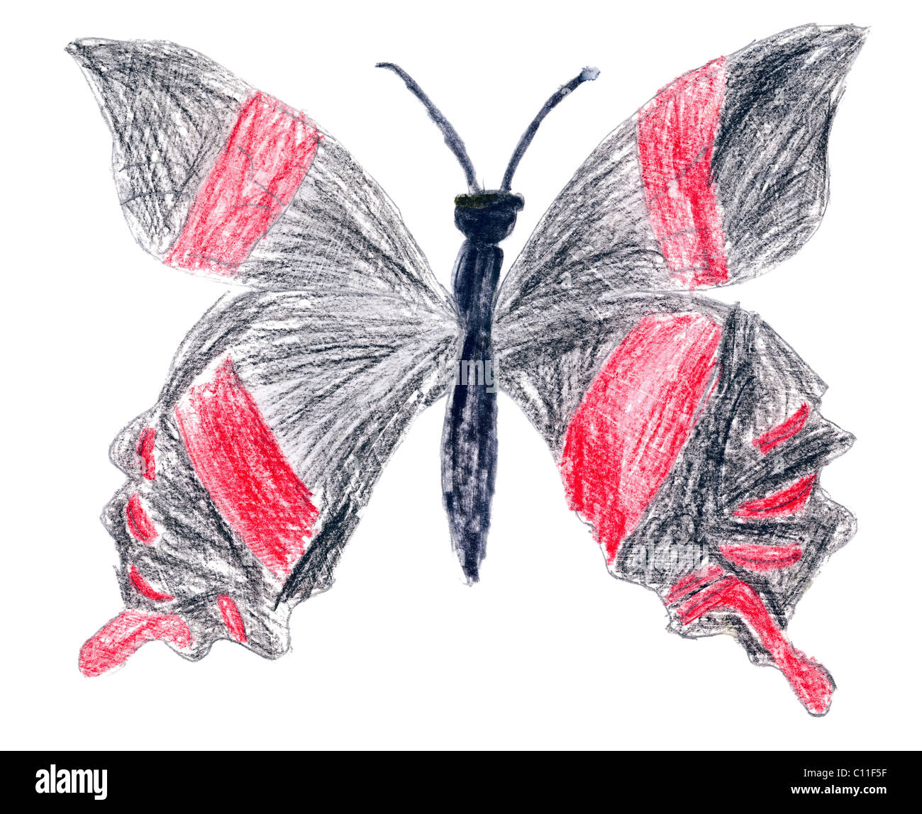 Child has drawn black butterfly on a paper - Stock Image