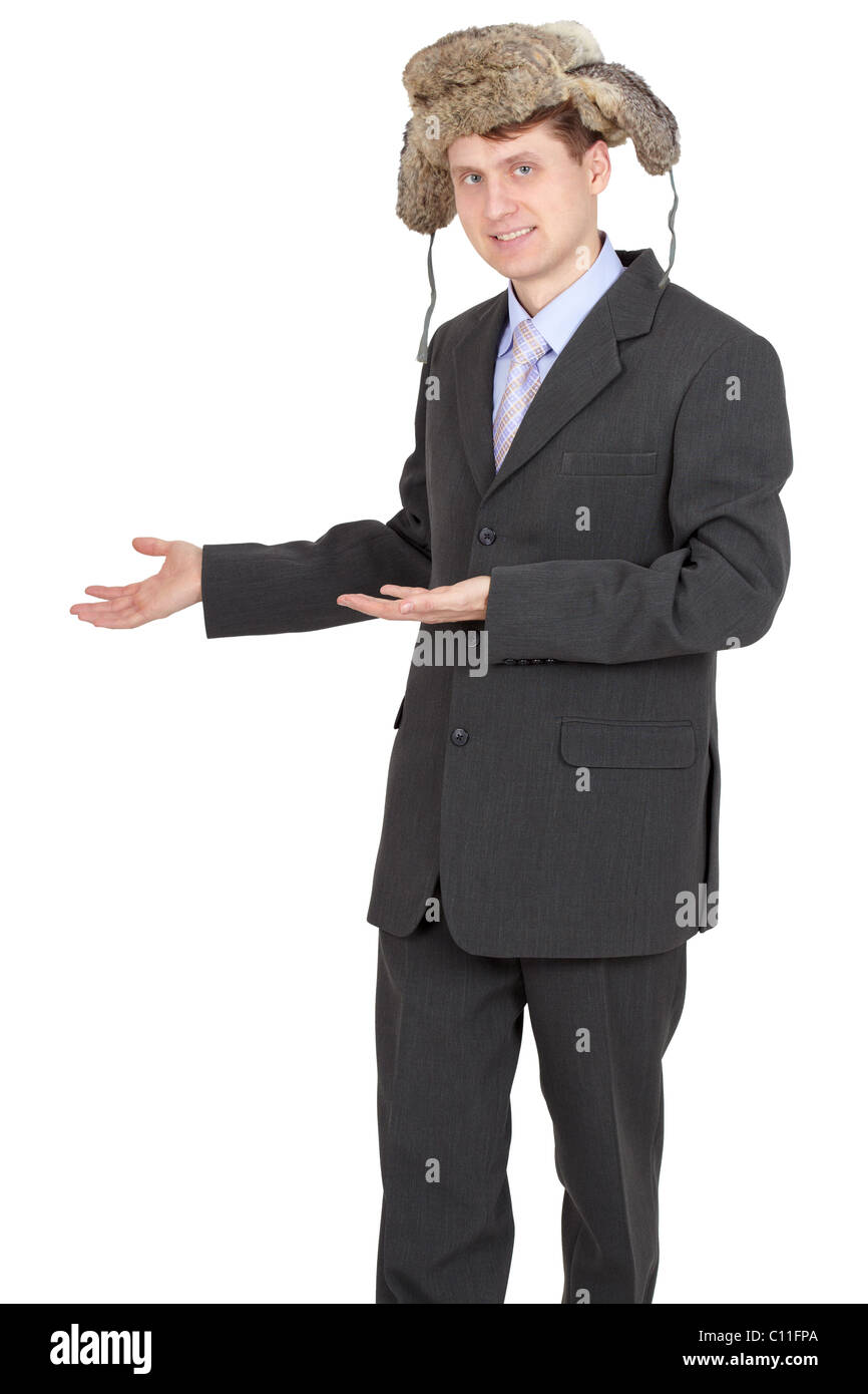 Hospitable funny businessman with a fur hat Stock Photo