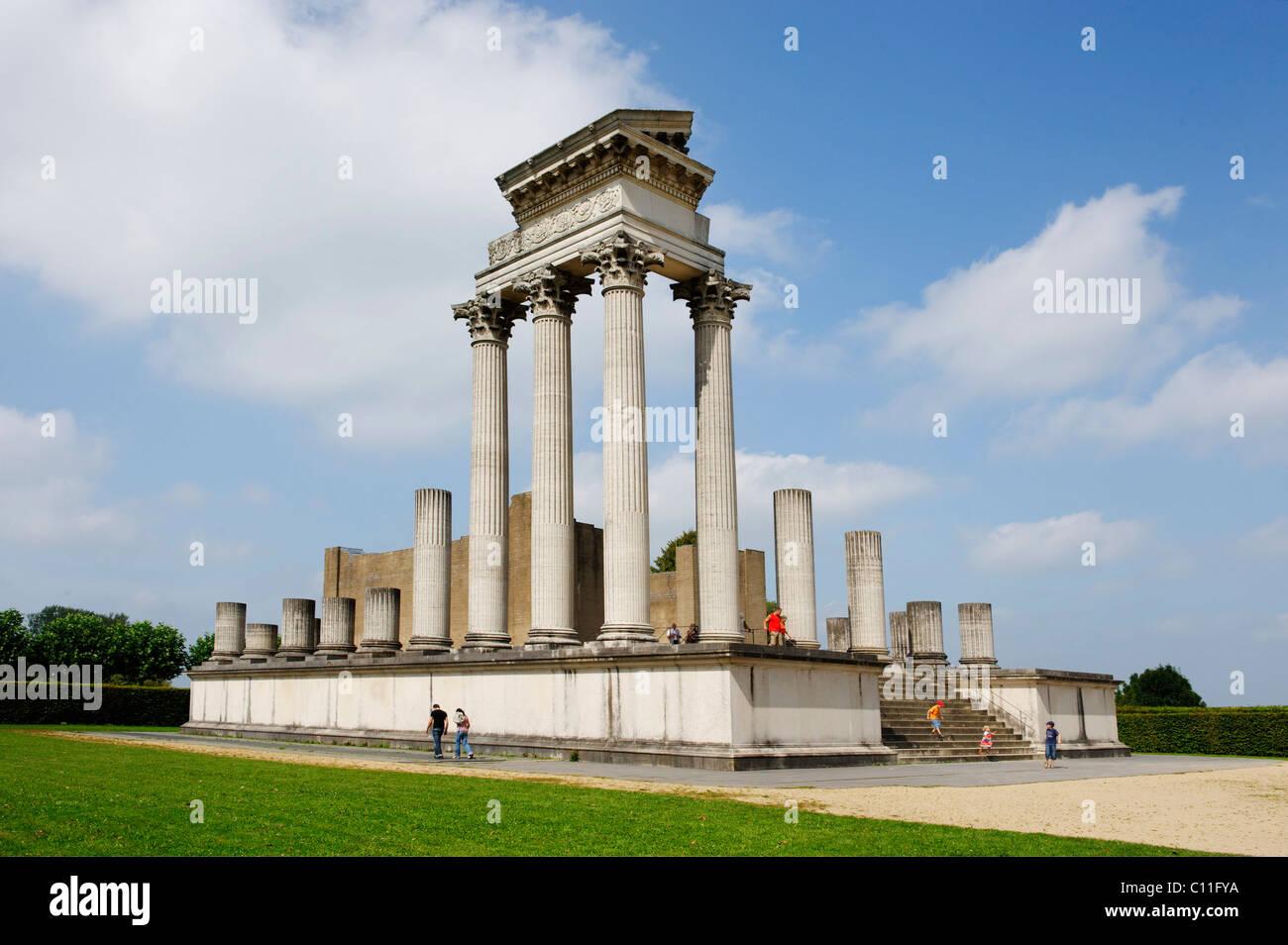 Hafentempel, temple of the harbor, reconstruction, Archaeolgical Park Xanten, North Rhine-Westfalia, Germany, Europe - Stock Image