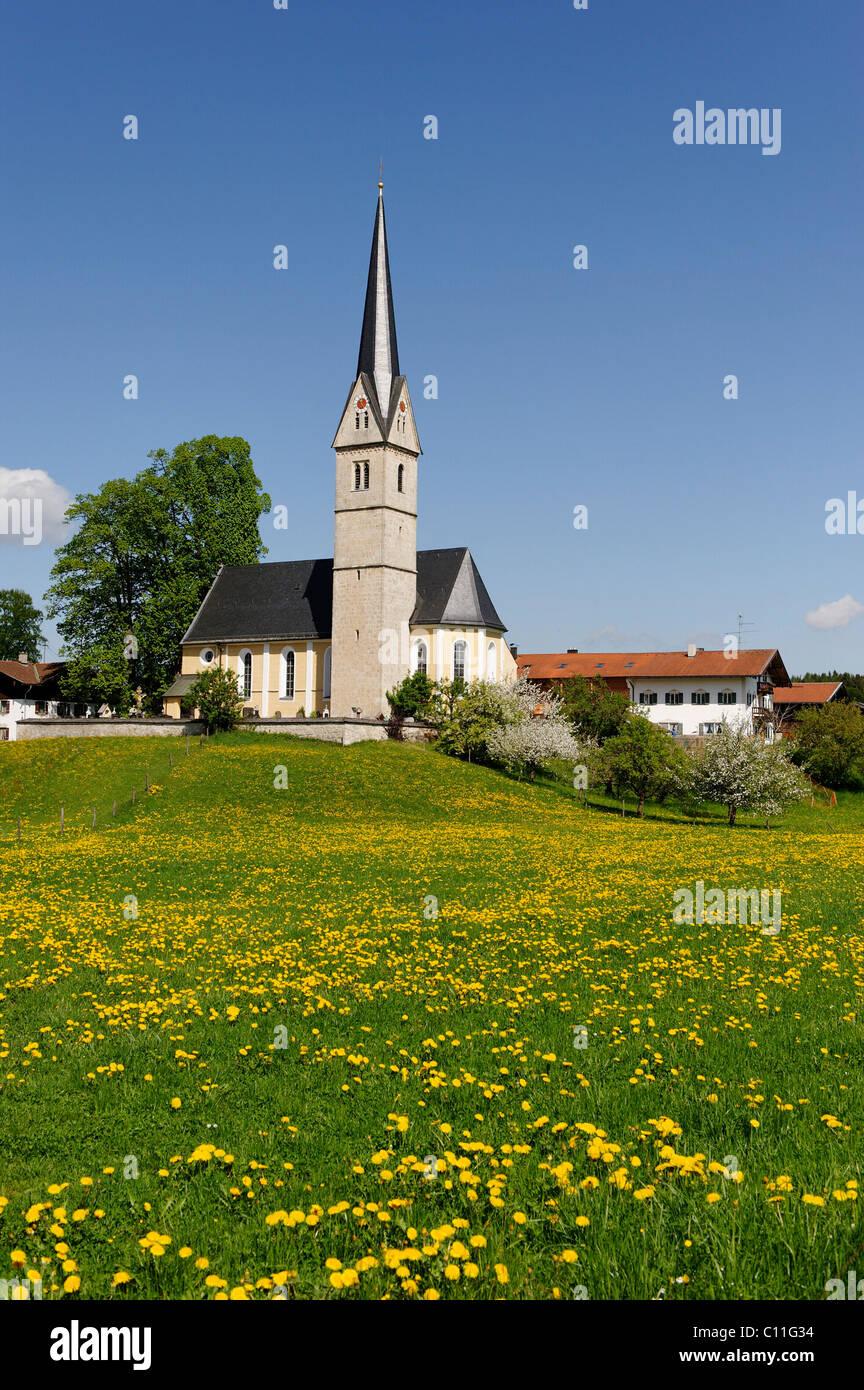 St. Leonhard-Kirche church, Reichersdorf at the Seehamer See lake, Upper Bavaria, Bavaria, Germany, Europe - Stock Image