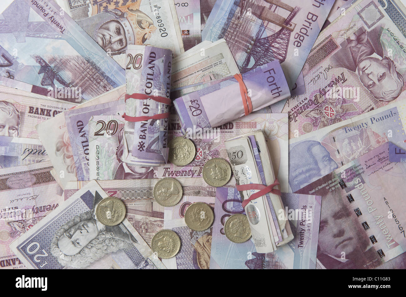 pile of pound notes, sterling - Stock Image