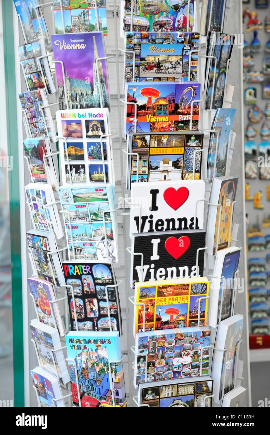 Postcards, souvenirs, Vienna, Austria, Europe - Stock Image