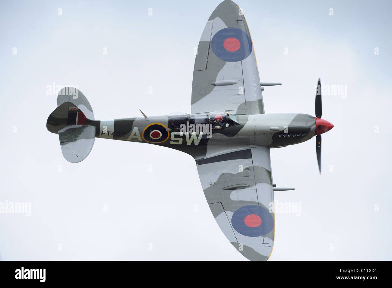 Rare 2 seater Supermarine Spitfire,  in flight at an airshow - Stock Image