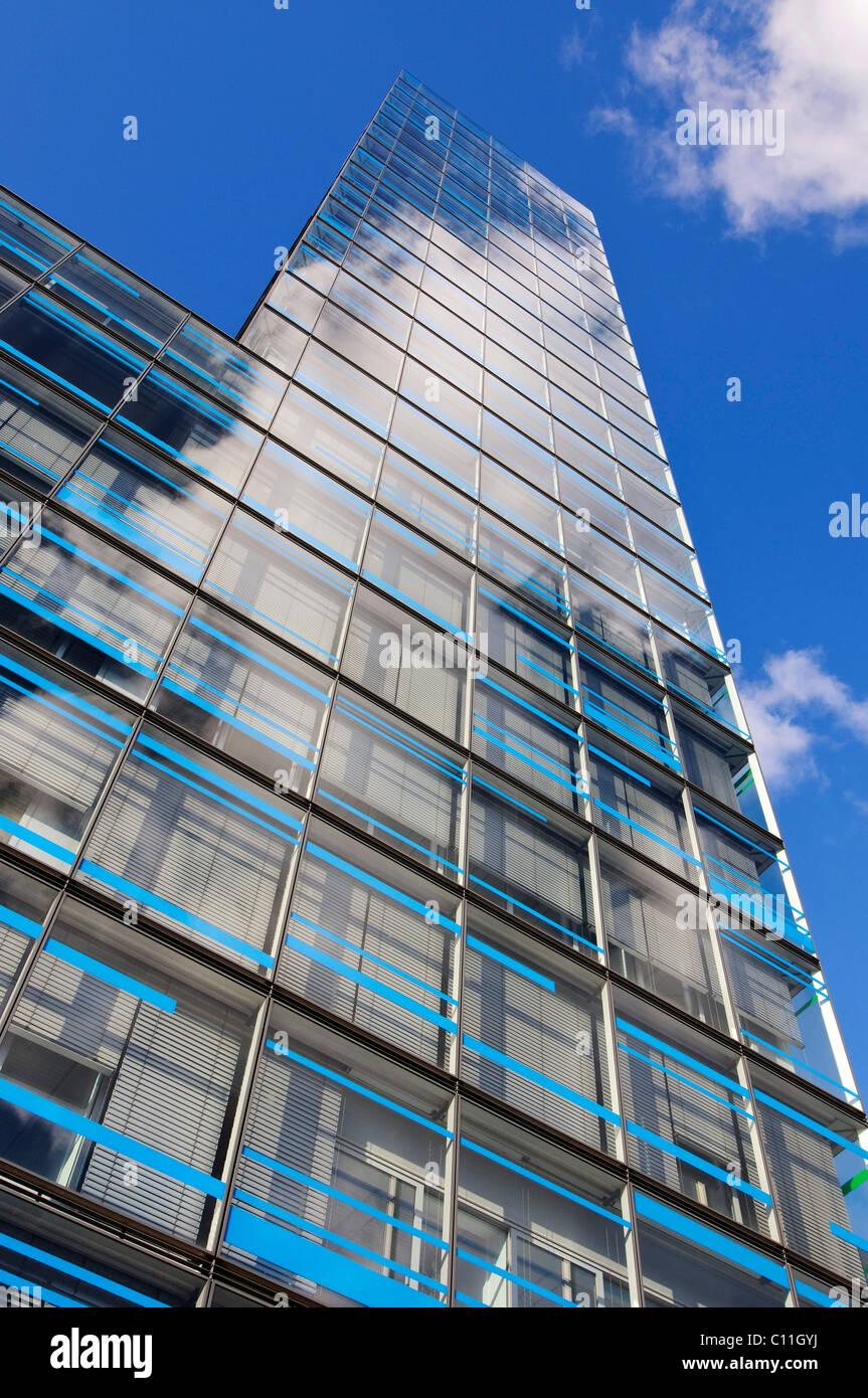 Reflective glass facade of the IBM branch office in Hamburg, Berliner Tor Centrum BTC, Hamburg, Germany, Europe - Stock Image