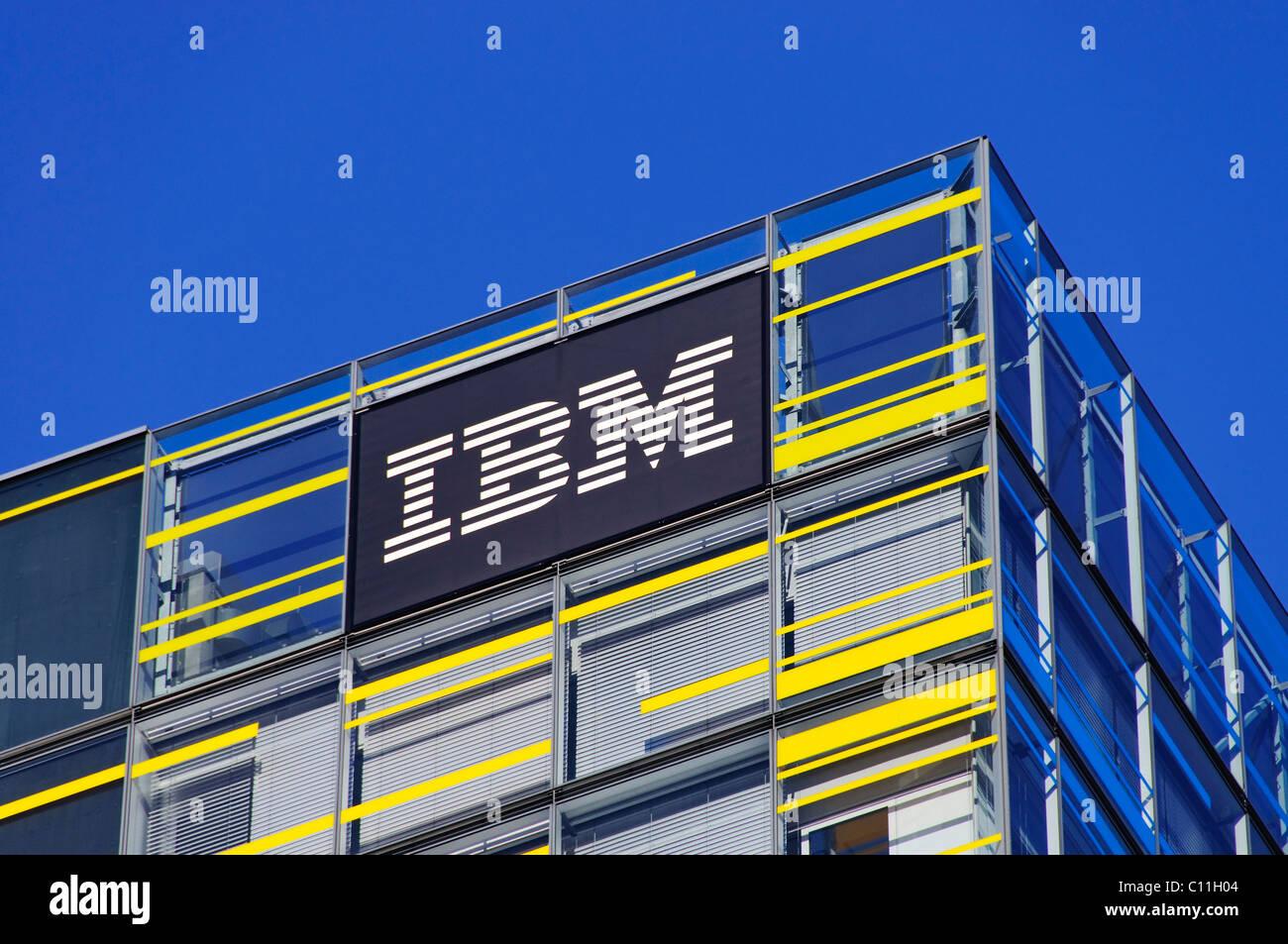 IBM logo on the front of the Hamburg IBM branch, Berliner Tor Centrum BTC, Hamburg, Germany, Europe - Stock Image