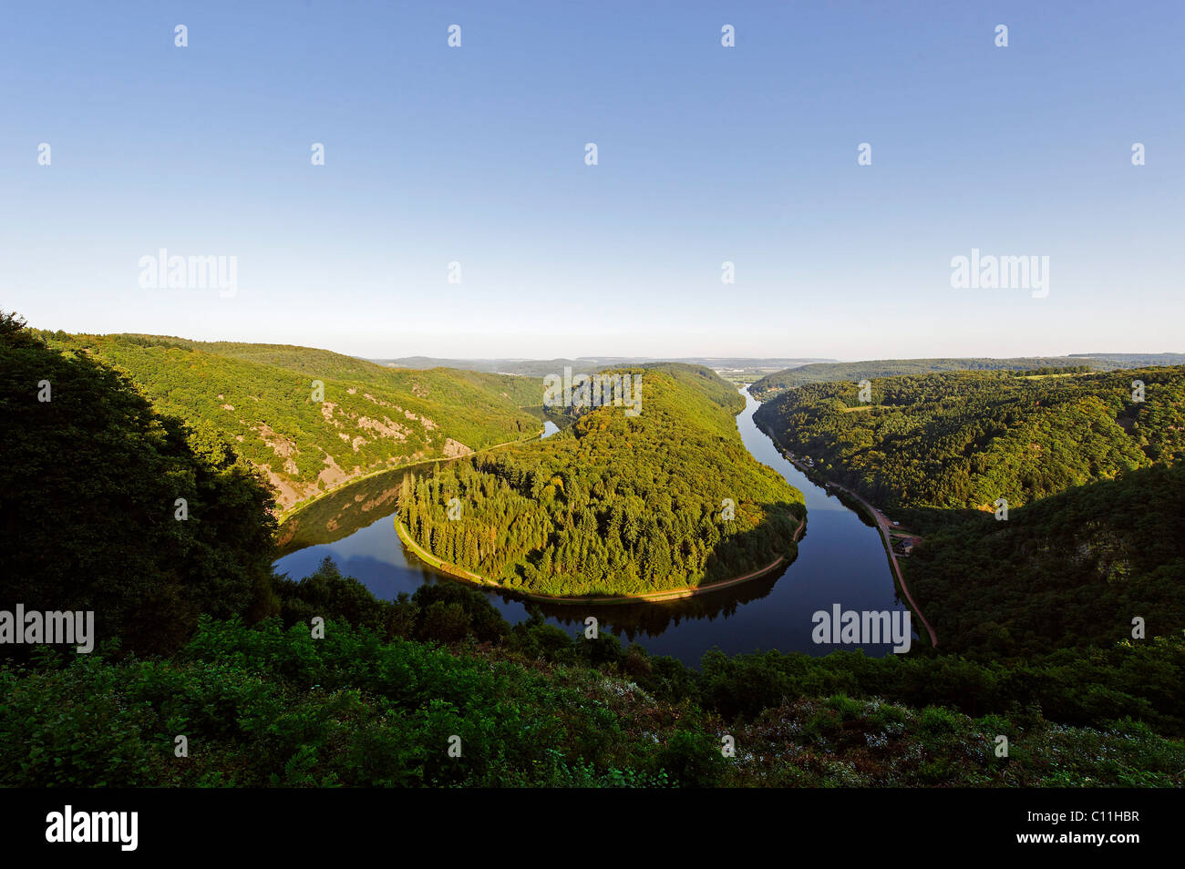 Sinuosity of the river Saar from the viewpoint Cloef near Orscholz, Mettlach, Saarland, Germany, Europe - Stock Image