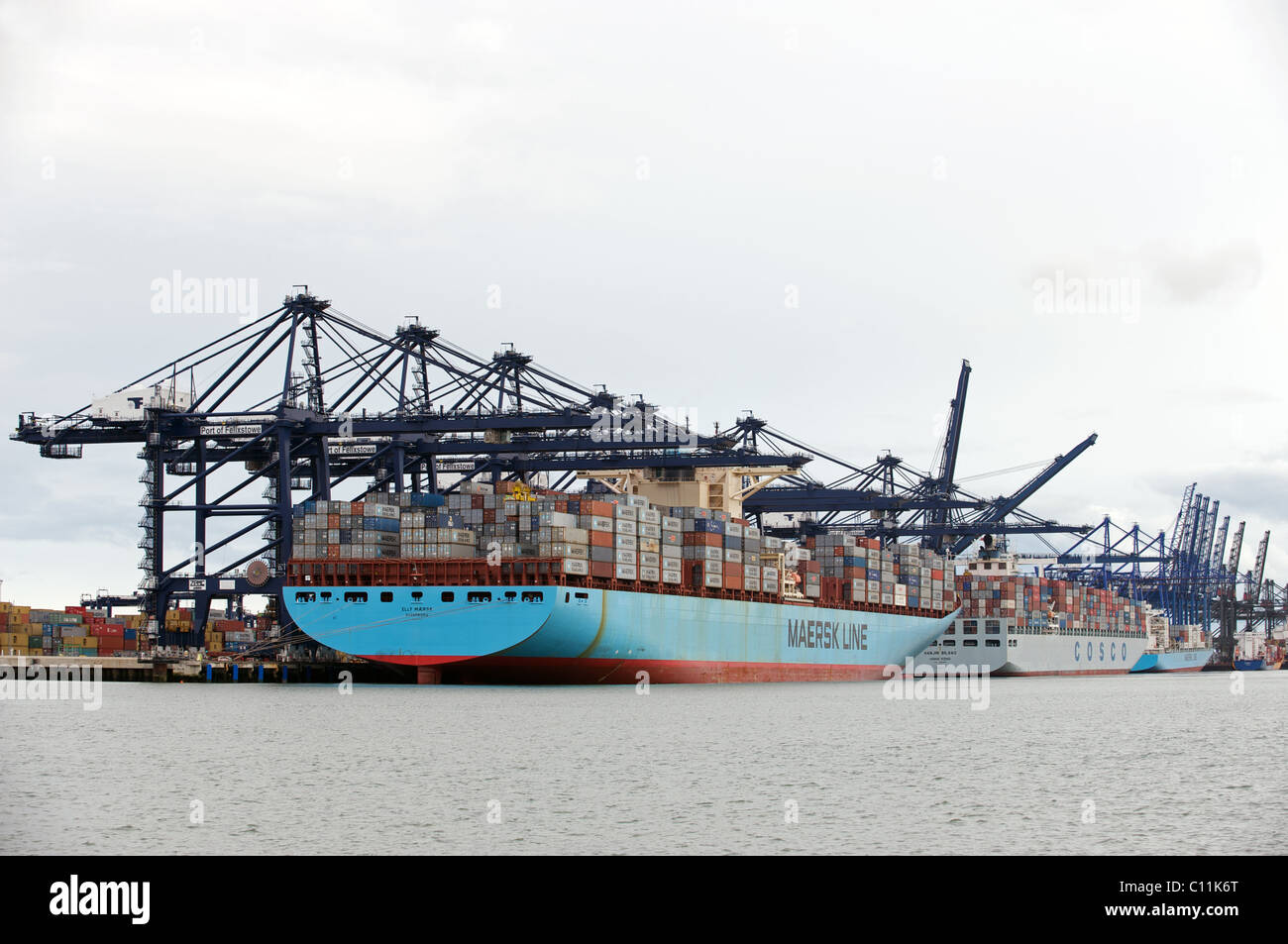 Container ships, UK. Stock Photo