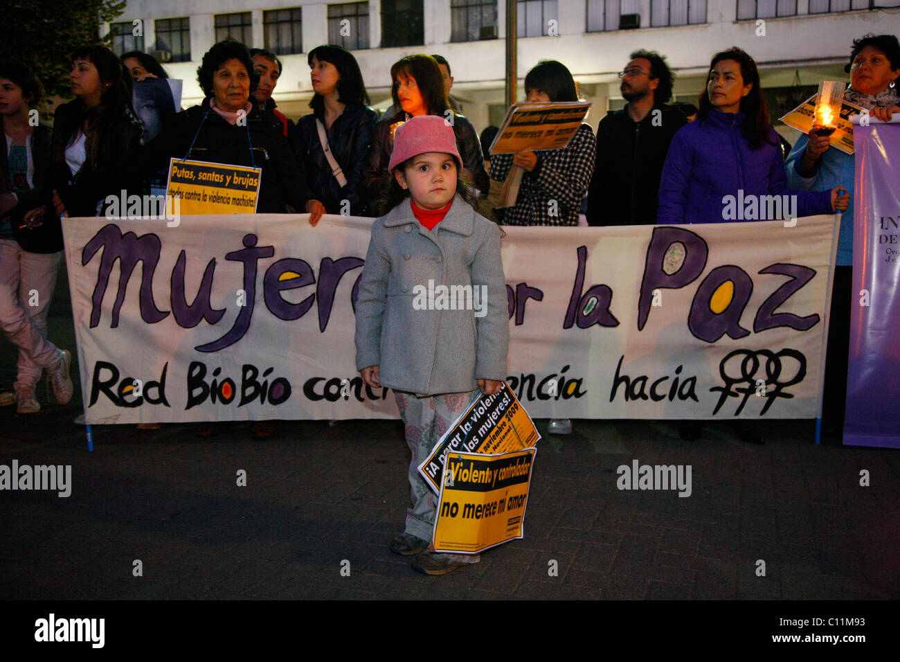 Girl during a demonstration, violence against women, Concepción, Chile, South America - Stock Image