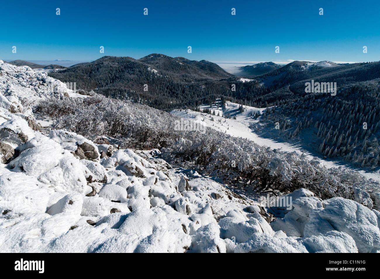 Winter in Northern Velebit National Park in Croatia, Europe Stock Photo