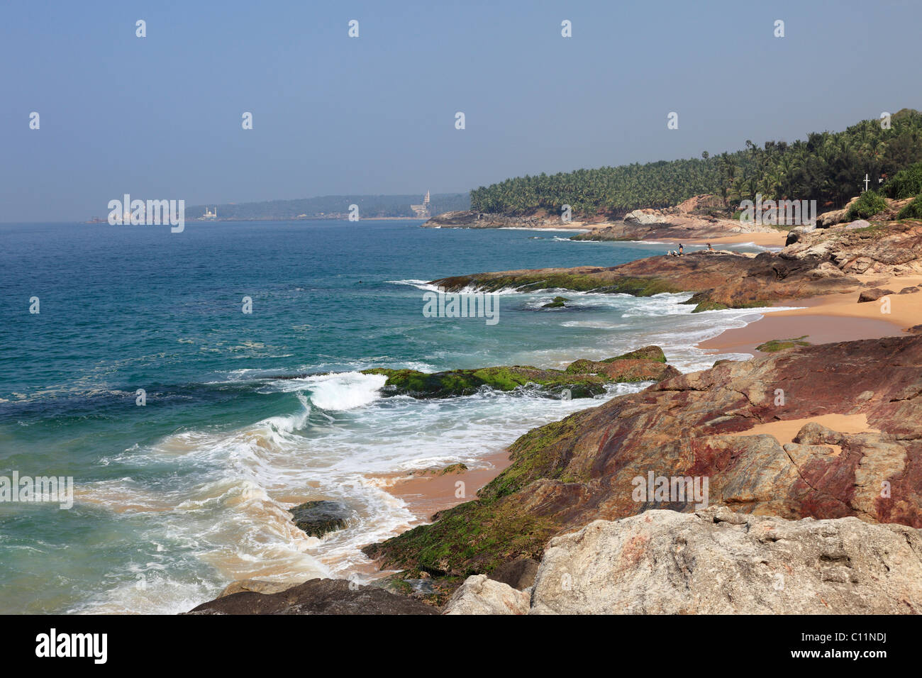 Coast south of Kovalam, Vizhinjam in the distance, Malabar Coast, Malabar, Kerala, southern India, India, Asia - Stock Image