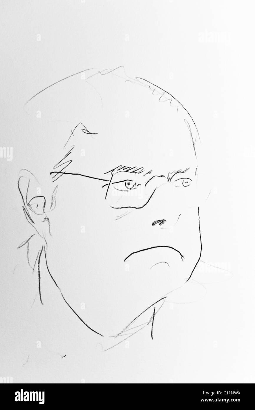 Portrait Peer Steinbrueck by artist Gerhard Kraus, Kriftel Stock Photo
