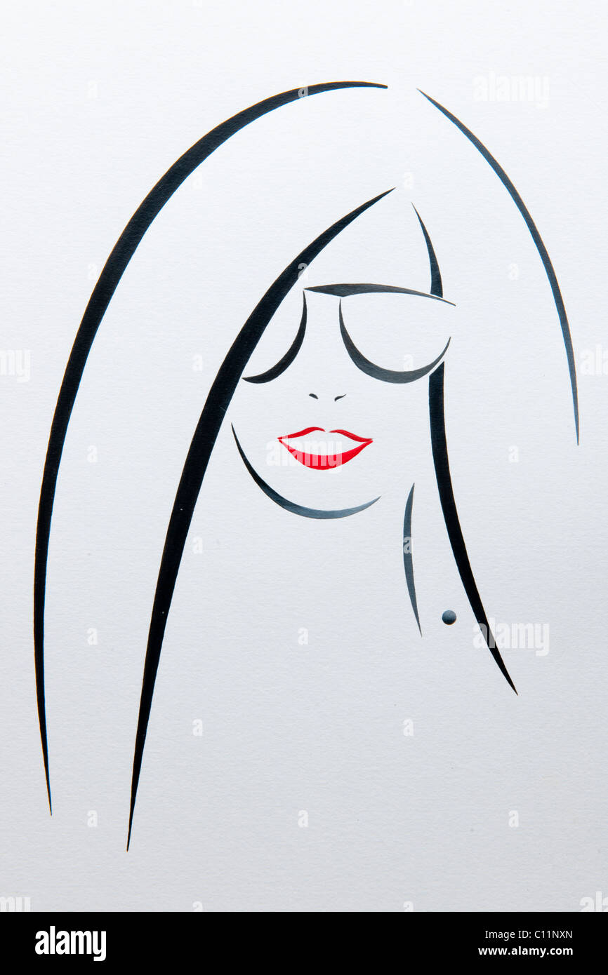Portrait, woman with sunglasses, drawing by artist Gerhard Kraus, Kriftel - Stock Image