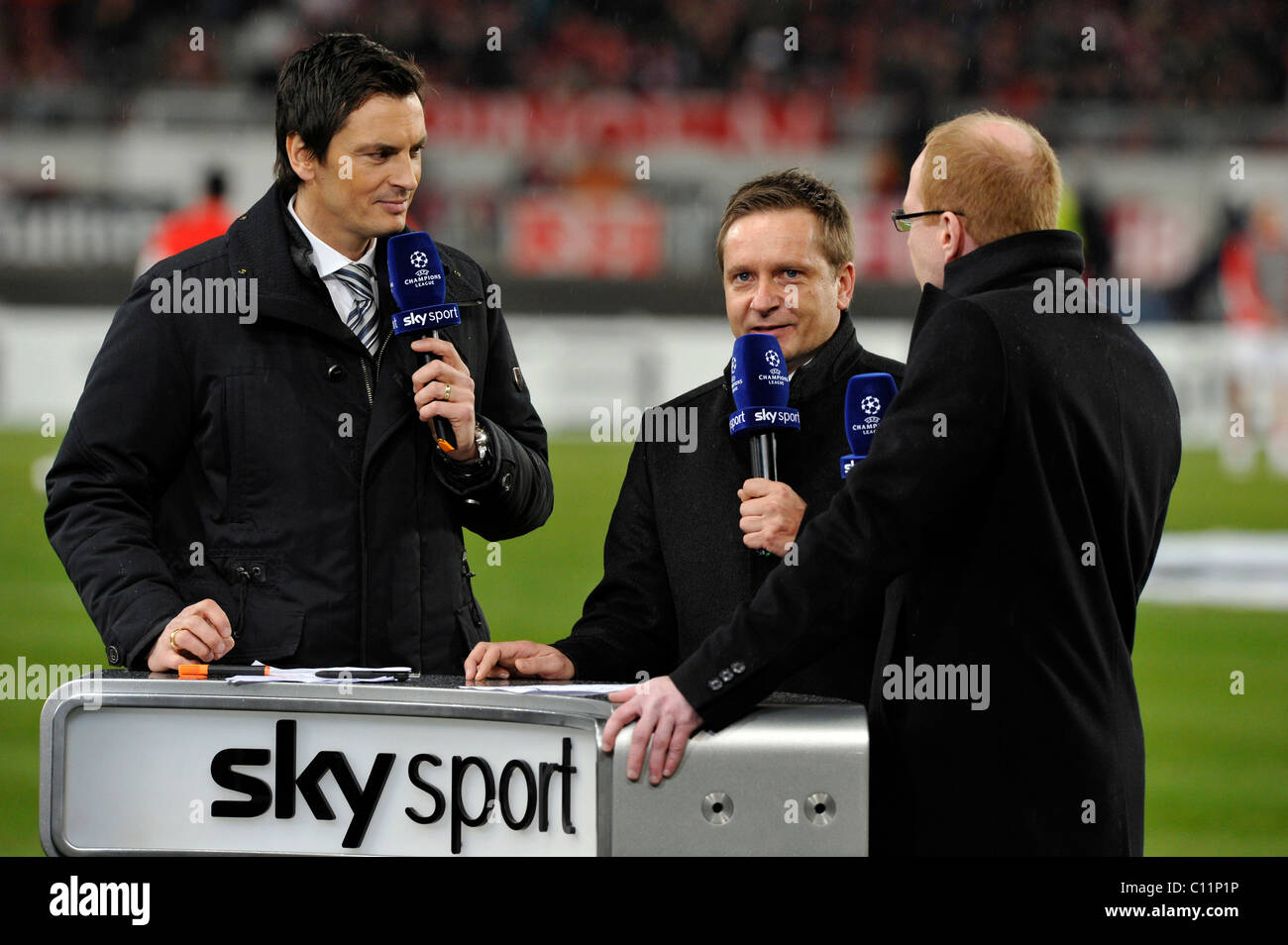 Interviews on SKY SPORTS Desk with DFB sports director Matthias Sammer on the right, sports director Horst Heldt - Stock Image