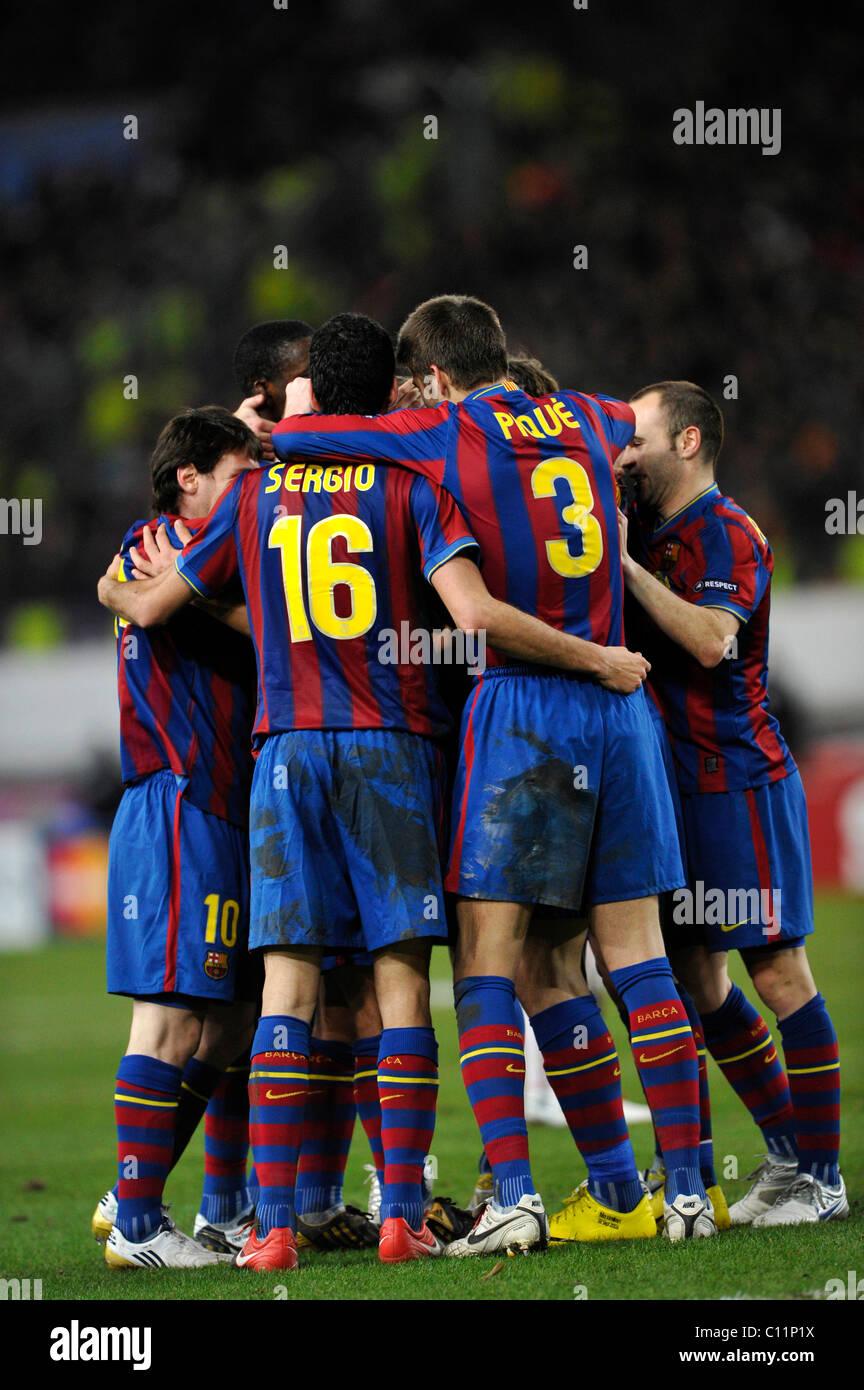 FC Barcelona celebrating a goal - Stock Image