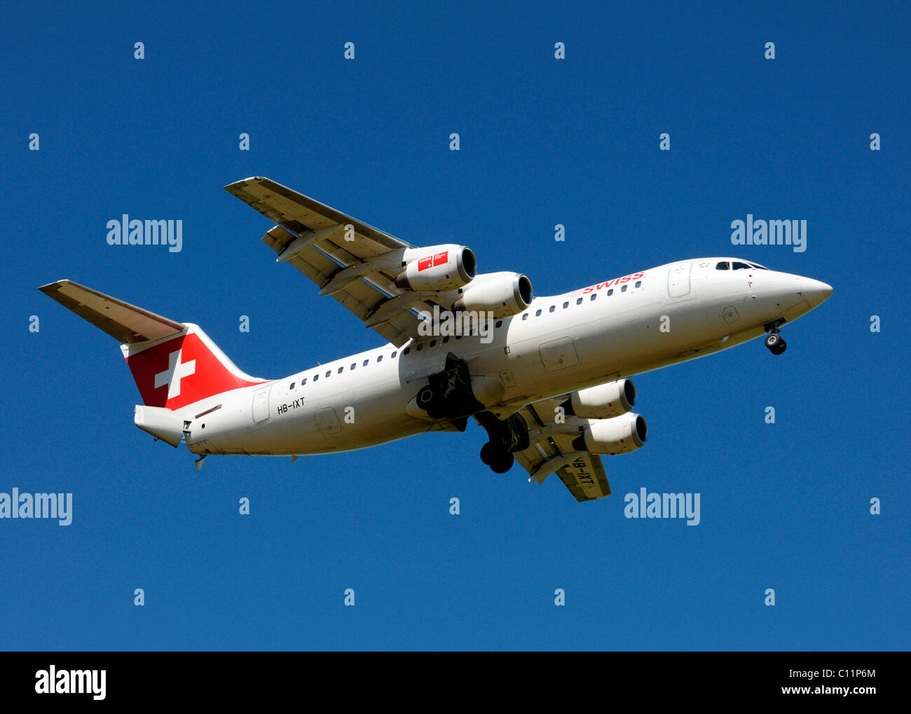 AVRO 146 RJ100 aircraft by Swiss International Air Lines - Stock Image