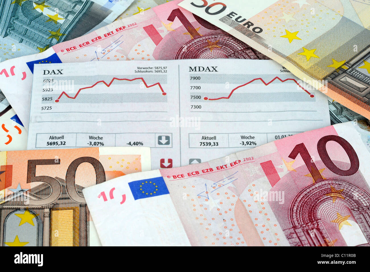 DAX, MDAX stock chart, euro bank notes, paper money, symbolic image for stock market gains, stock market losses - Stock Image