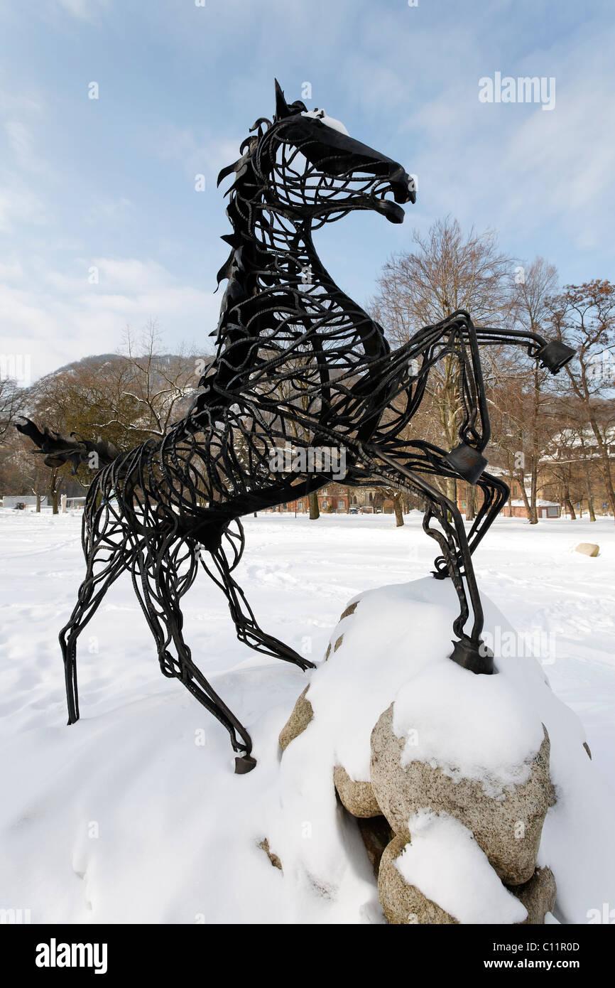 Wotan's eight-legged horse Sleipnir, figure on the Mythenweg Germanic myth road, Thale, Harz, Saxony-Anhalt, - Stock Image