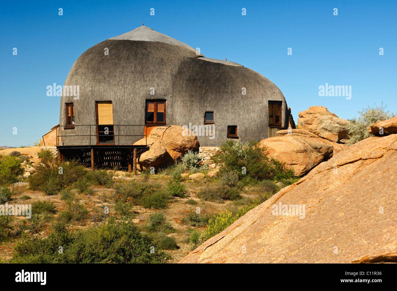 Thatched Namakwa Mountain Suite, Naries Namakwa Retreat, Naries, South Africa, Africa - Stock Image