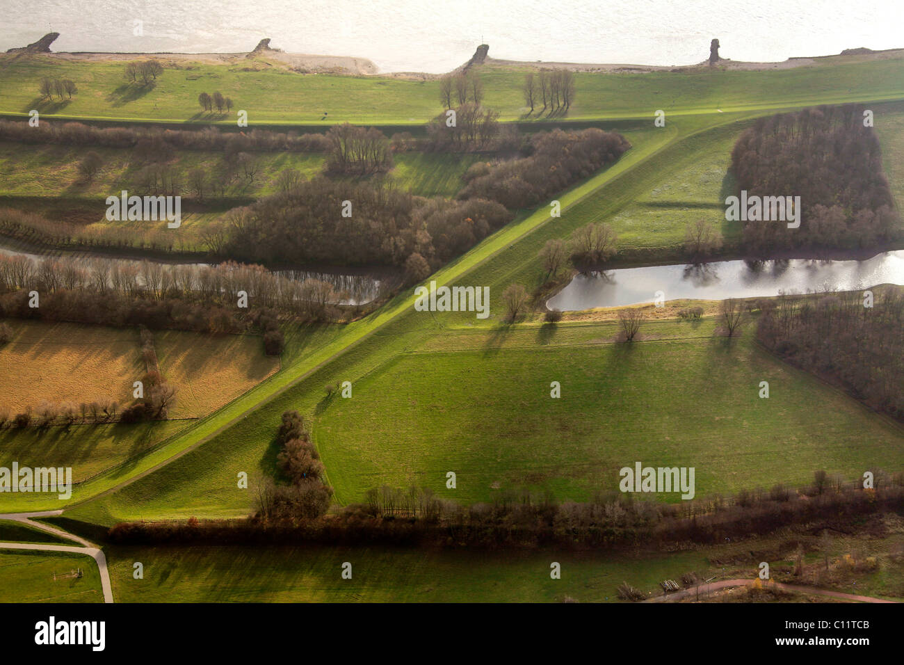 Aerial view, Rhine river, Rhine river flood plains, Rheinhausen, Duisburg, Ruhrgebiet region, North Rhine-Westphalia Stock Photo