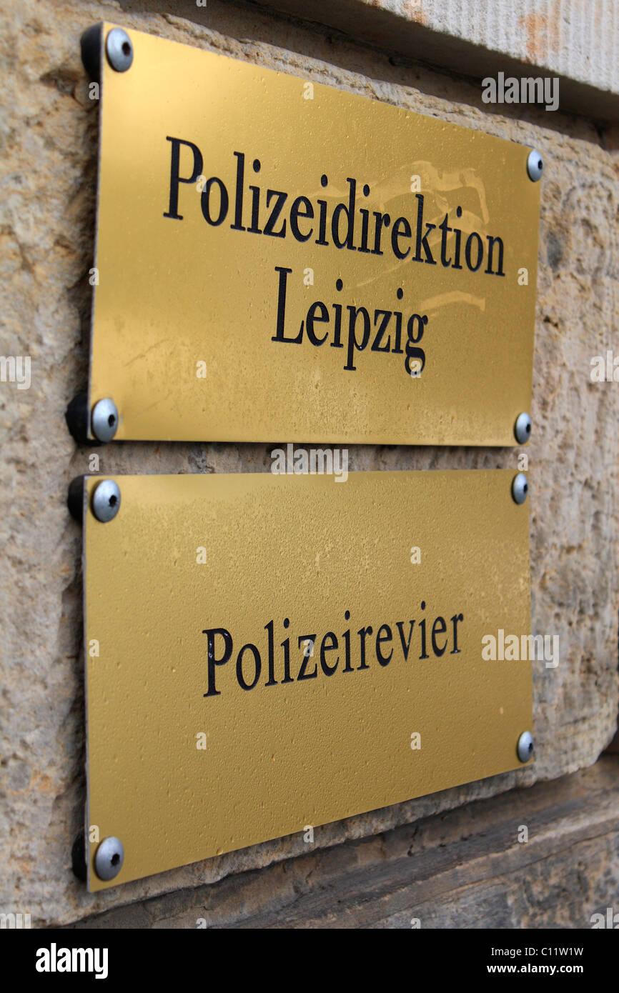 Sign of the Leipzig police authority, Saxony, Germany, Europe - Stock Image