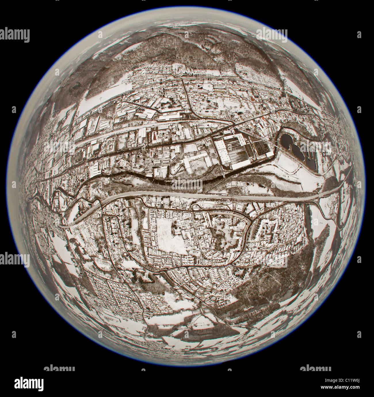 Aerial view, fisheye, 360 degree panorama, snow, Westerbauer, Gevelsberg, North Rhine-Westphalia, Germany, Europe - Stock Image