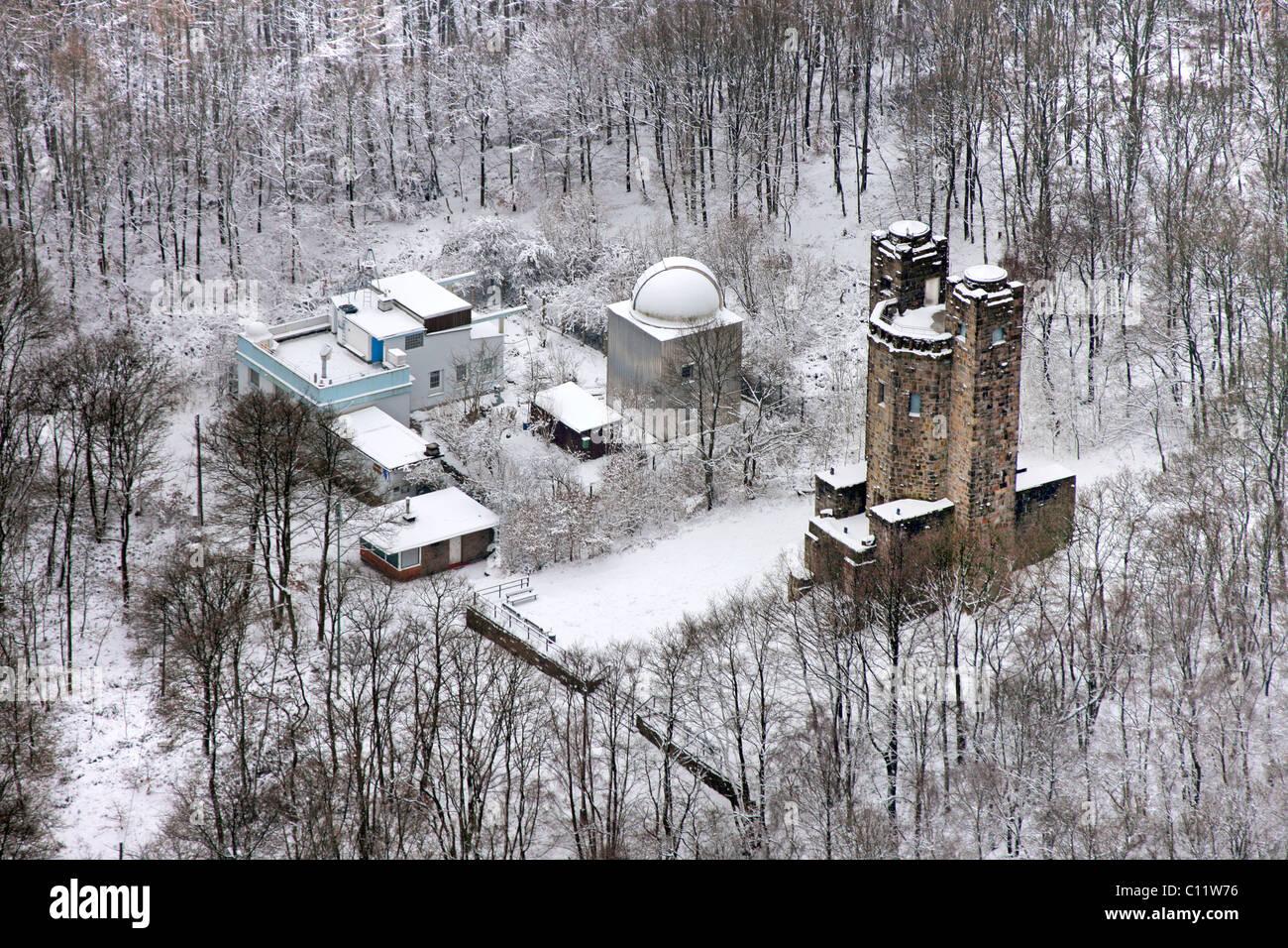 Aerial view, snow, Kipper, Sternwarte Hagen observatory, Hagen, North Rhine-Westphalia, Germany, Europe - Stock Image
