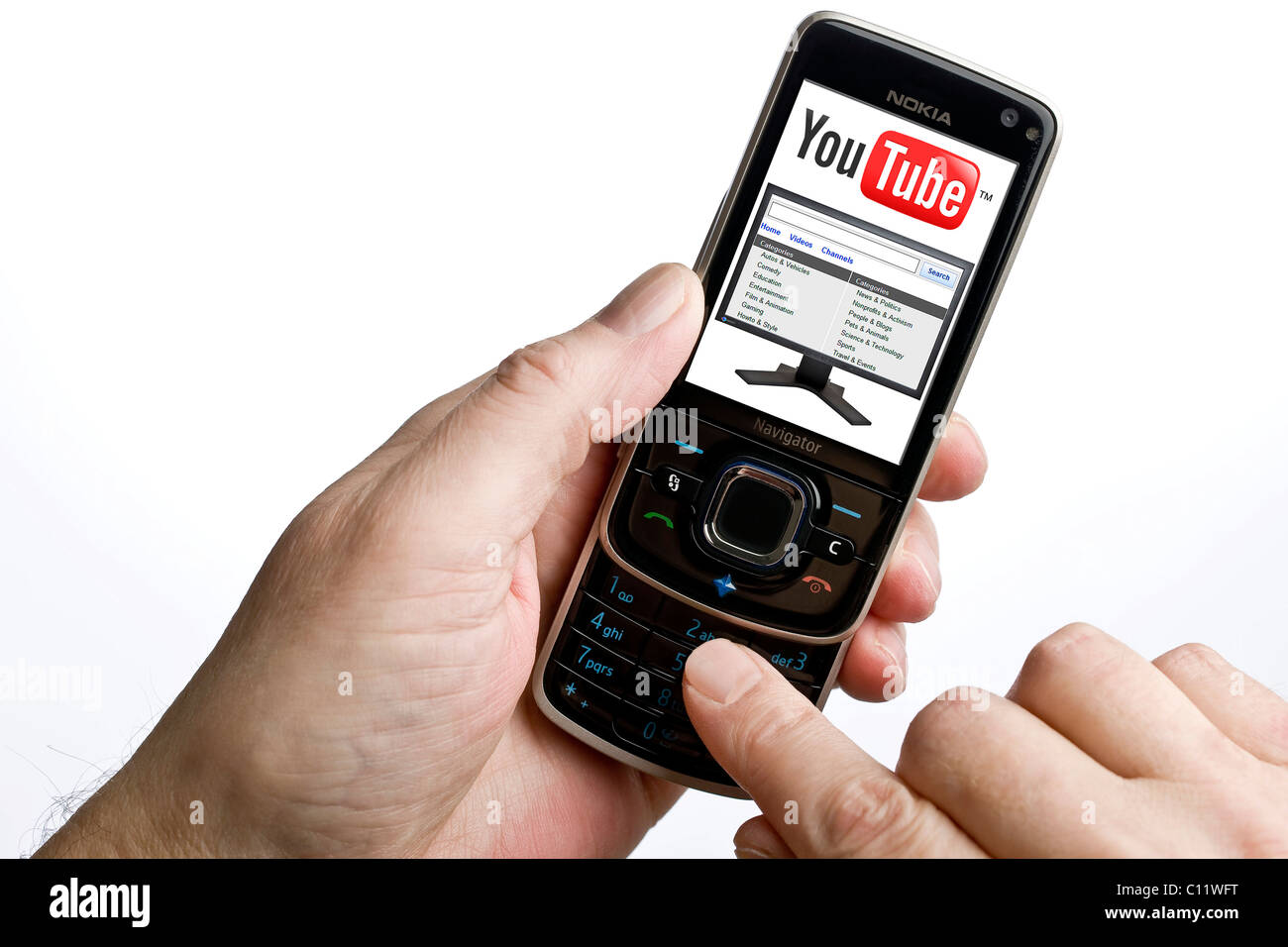 Using YouTube on a mobile phone Stock Photo: 35077388 - Alamy