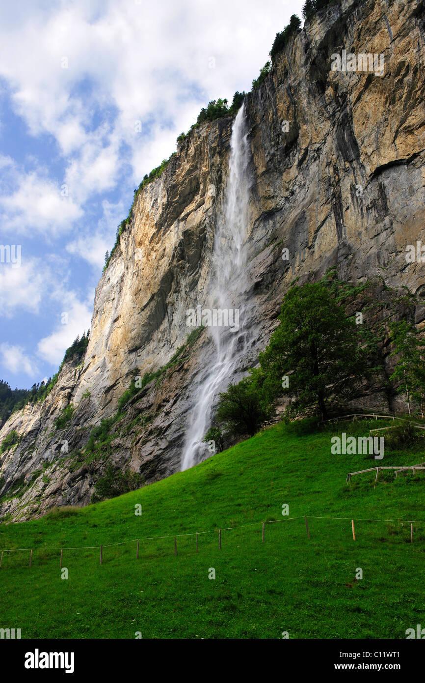Staubach waterfall near Interlaken, canton of Bern, Switzerland, Europe Stock Photo