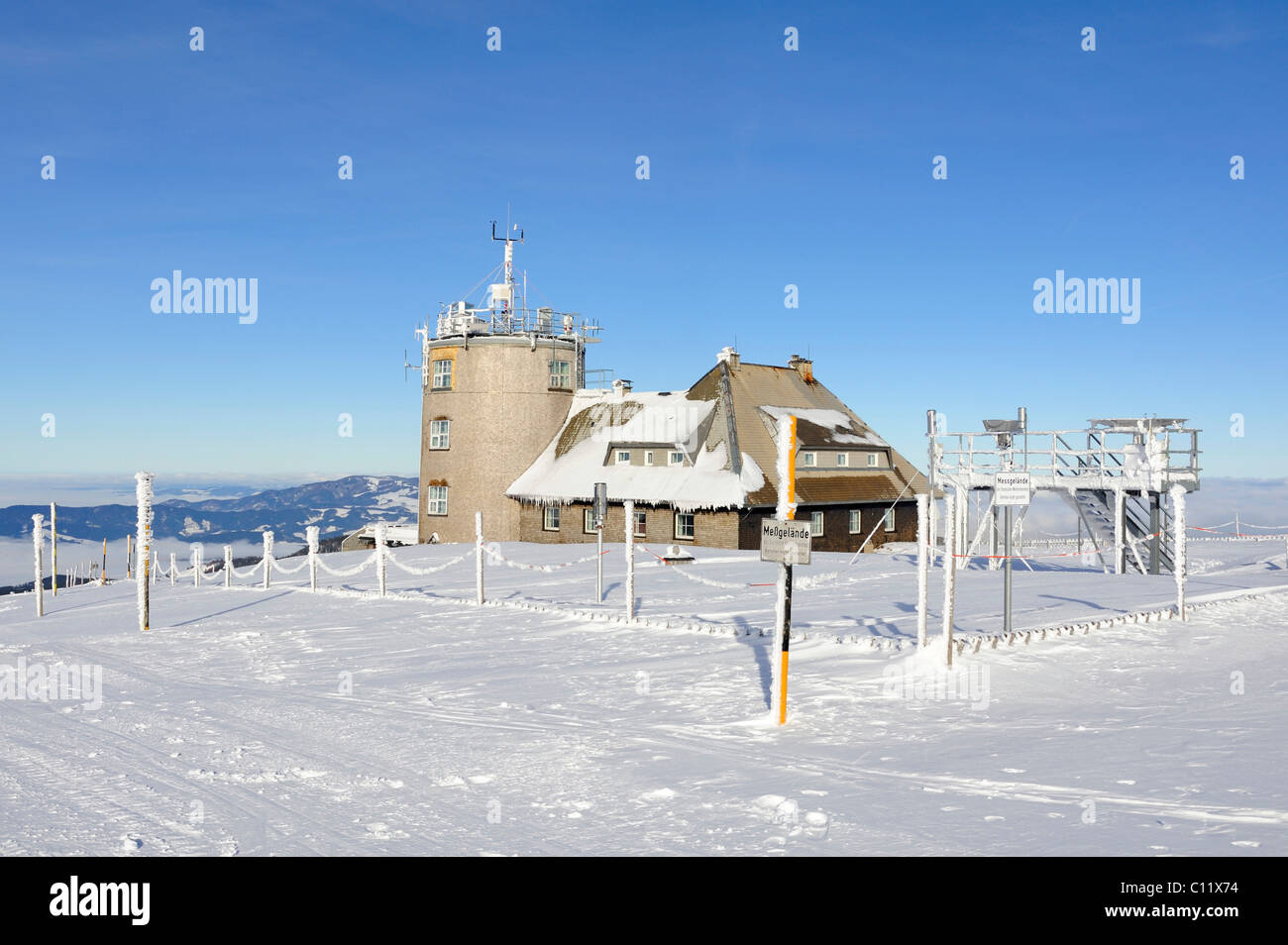 Weather observation station of the German Weather Service built in 1937, on the 1493m high Mt. Feldberg in the Black - Stock Image