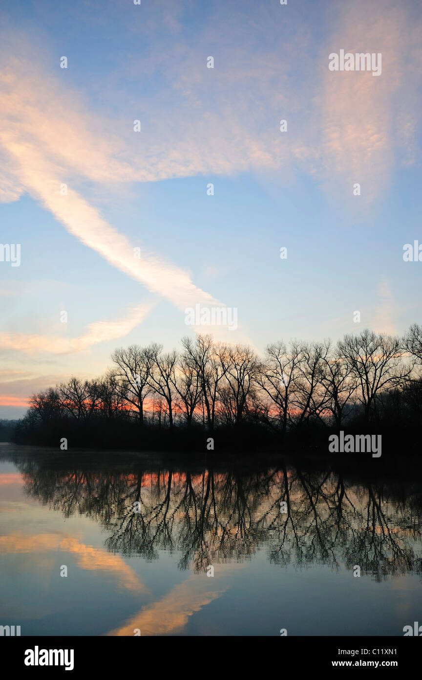 Man-made lake in the morning, autumn, Wendlingen, Baden-Wuerttemberg, Germany, Europe - Stock Image