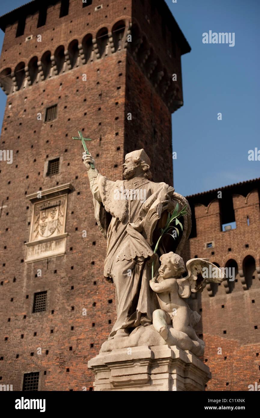 Fortezza Sforzesco castle, Milan, Lombardy, Italy, Europe Stock Photo