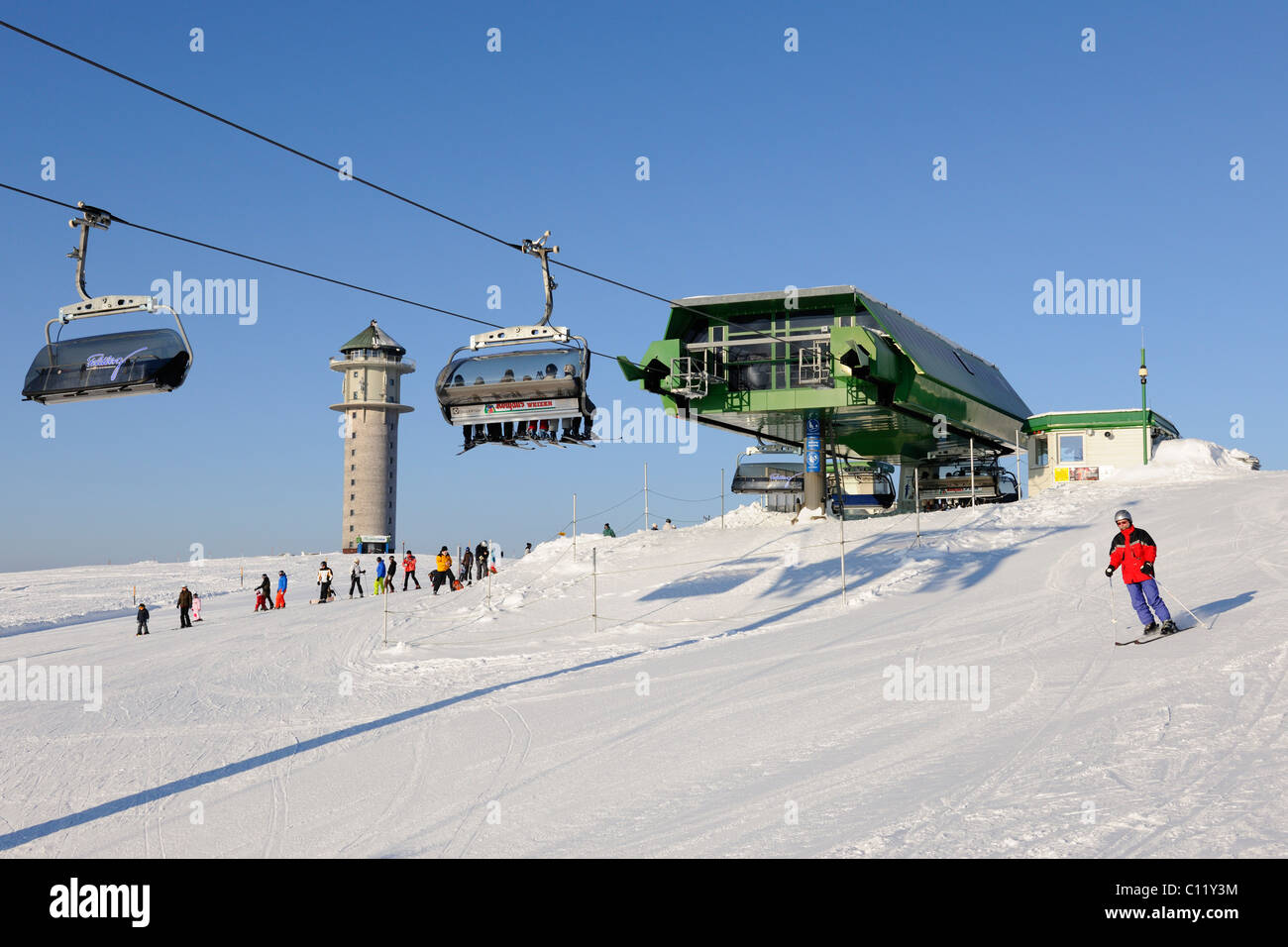 Skilift on Mt Feldberg, southern Black Forest, Baden-Wuerttemberg, Germany, Europe Stock Photo