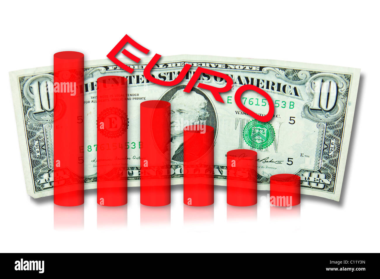 Symbolic image showing the decline of the euro against the U.S. dollar - Stock Image