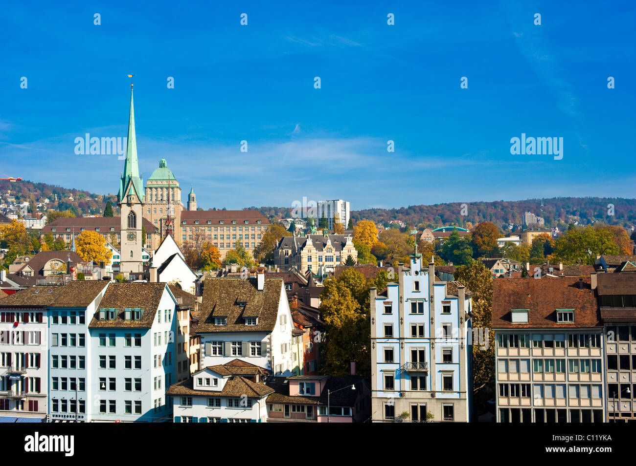 Limmat River, historic town, Predigerkirche church, Zurich, Switzerland, Europe - Stock Image