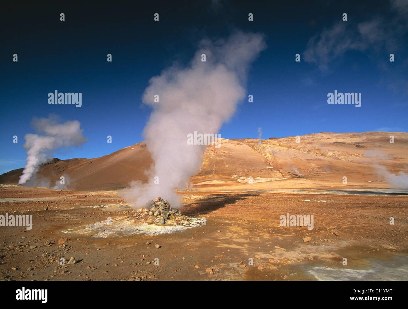 Steaming hot pots, Namaskard, solfatara fields, highlands, Iceland, Europe - Stock Image