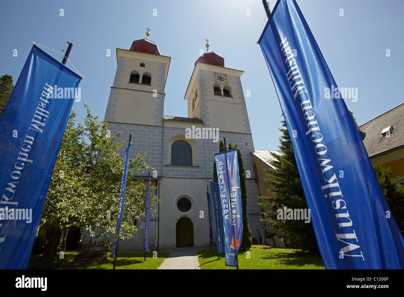 Former collegiate church of Millstatt, Carinthia, Austria, Europe - Stock Image