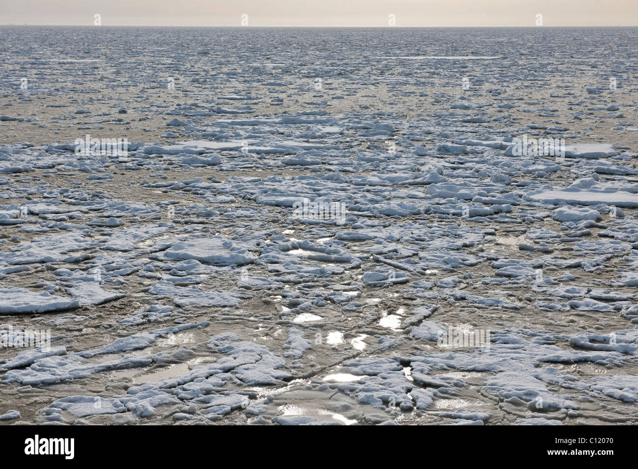 A rare spectacle of nature, the icy North Sea, Foehr island, Nationalpark Schleswig-Holsteinisches Wattenmeer, - Stock Image
