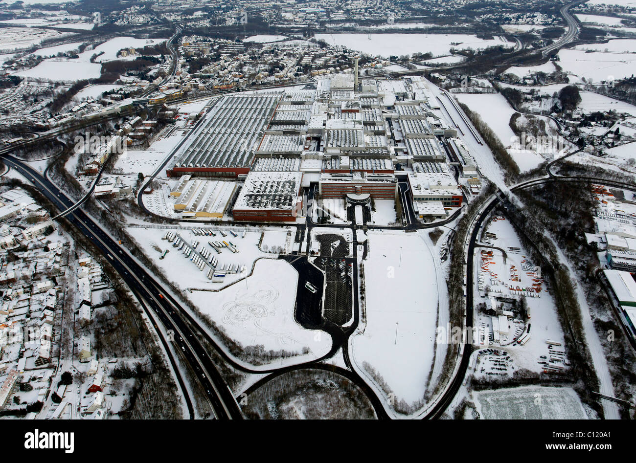 Aerial view, snow, inner-city highway, Zafirawerk plant, Astrawerk factory, Opel GM General Motors Werk I plant, - Stock Image