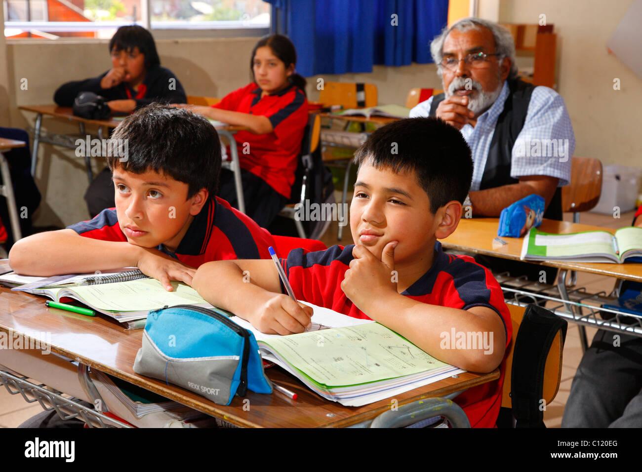 Pupils during class, Belem school, Santiago de Chile, Chile, South America - Stock Image